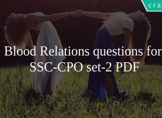 Blood Relations questions for SSC-CPO set-2 PDF