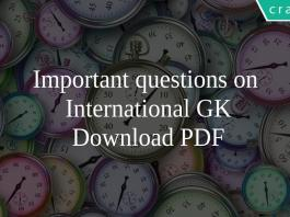 Important questions on International GK