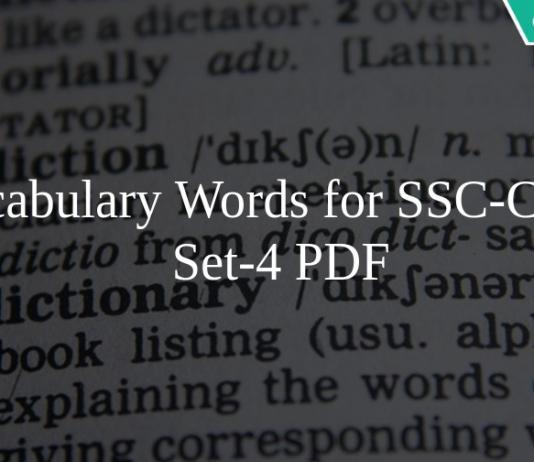 Vocabulary Words for SSC-CGL set-4 PDF