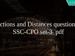 Directions and Distances questions for SSC-CPO set-3 pdf