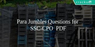Para Jumbles Questions for SSC-CPO PDF