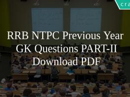 RRB NTPC Previous Year GK Questions PART-II