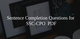 Sentence Completion Questions for SSC-CPO PDF
