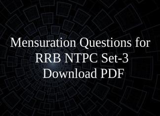 Mensuration Questions for RRB NTPC Set-3 PDF