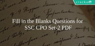 Fill in the Blanks Questions for SSC CPO Set-2 PDF