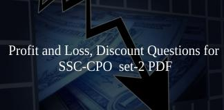 Profit and Loss, Discount Questions for SSC-CPO set-2 PDF