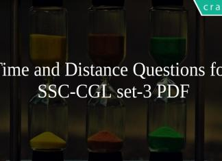 Time and Distance Questions for SSC-CGL set-3 PDF