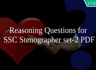 Reasoning Questions for SSC Stenographer set-2 PDF