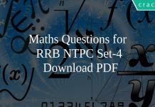 Maths Questions for RRB NTPC Set-4 PDF