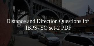 Distance and Direction Questions for IBPS- SO set-2 PDF