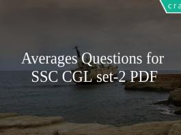 Averages Questions for SSC CGL set-2 PDF