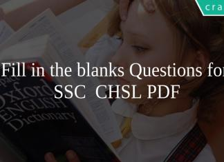 Fill in the blanks Questions for SSC CHSL PDF