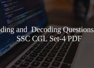 Coding and Decoding Questions for SSC CGL Set-4 PDF