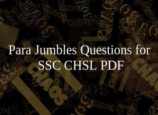 Para Jumbles Questions for SSC CHSL PDF