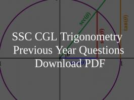SSC CGL Trigonometry Previous Year Questions PDF
