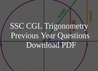 SSC CGL Trigonometry Previous Year Questions PDF