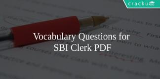 Vocabulary Questions for SBI Clerk PDF