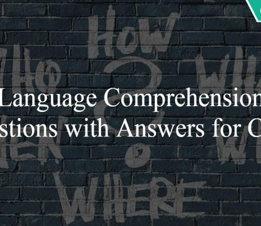 Language Comprehension Questions with Answers for CMAT