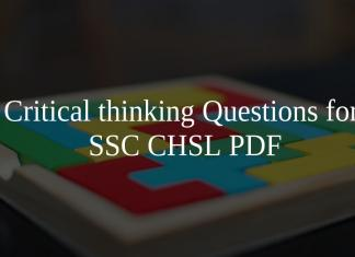 Critical thinking Questions for SSC CHSL PDF