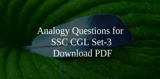 Analogy Questions for SSC CGL Set-3 PDF