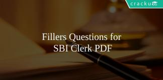 Fillers Questions for SBI Clerk PDF