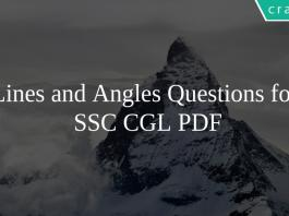 Lines and Angles Questions for SSC CGL PDF