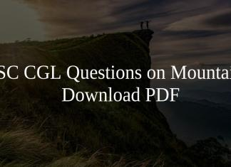 SSC CGL Questions on Mountains PDF