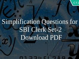 Simplification Questions for SBI Clerk Set-2 PDF