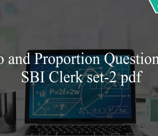 Ratio and Proportion Questions for SBI Clerk set-2 pdf