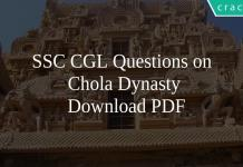 SSC CGL Questions on Chola Dynasty PDF