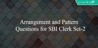 Arrangement and Pattern Questions for SBI Clerk Set-2