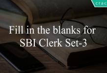 Fill in the blanks for SBI Clerk Set-3