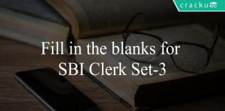Fill in the blanks for SBI Clerk Set-3