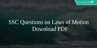SSC Questions on Laws of Motion PDF