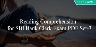 Reading Comprehension for SBI Bank Clerk Exam PDF Set-3