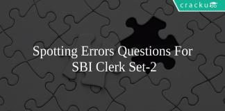 Spotting Errors Questions For SBI Clerk Set-2