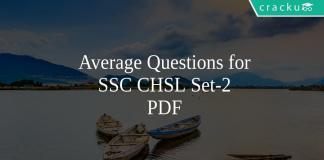 Average Questions for SSC CHSL Set-2 PDF