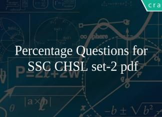 Percentage Questions for SSC CHSL set-2 pdf