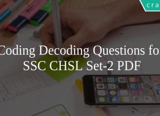 Coding Decoding Questions for SSC CHSL Set-2 PDF