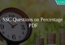 SSC Questions on Percentage PDF
