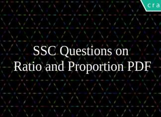 SSC Questions on Ratio and Proportion PDF