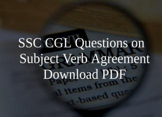 SSC CGL Questions on Subject Verb Agreement PDF