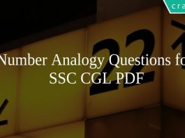 Number Analogy Questions for SSC CGL PDF