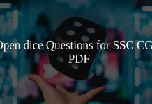 Open dice Questions for SSC CGL PDF