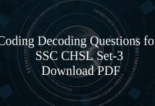 Coding Decoding Questions for SSC CHSL Set-3 PDF