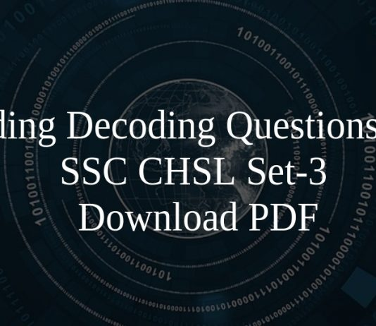 Coding Decoding Questions for SSC CHSL Set-3 PDF
