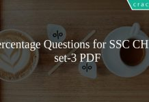 Percentage Questions for SSC CHSL set-3 PDF