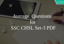Average Questions for SSC CHSL Set-3 PDF