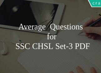 Average Questions for SSC CHSL Set-3 PDF