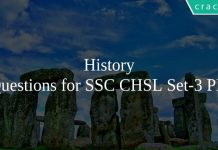 History Questions for SSC CHSL Set-3 PDF